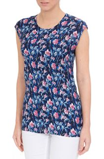 Anna Rose Floral Pleated Round Neck Top