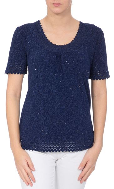 Anna Rose Laser Cut Textured Top