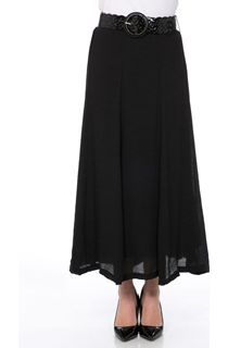 Crinkle Belted Maxi Skirt - Black