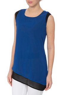 Asymmetrical Colour Block Layer Embellished Top