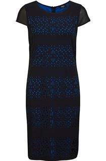 Laser Cut Layer Chiffon Midi Dress - Black/Cobalt