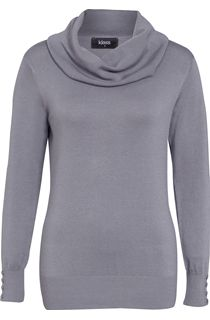 Everyday Cowl Neck Knit Top - Grey