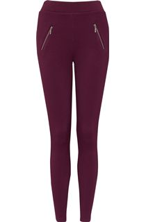 Pull On Textured Stretch Treggings - Damson