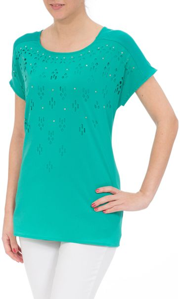 Short Sleeve Laser Cut Top