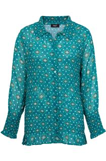 Floral Printed Long Sleeve Pleated Shirt