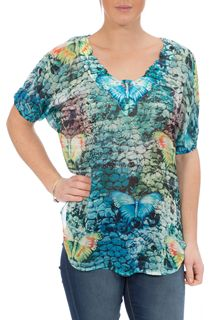 Embellished Butterfly Print Georgette Top