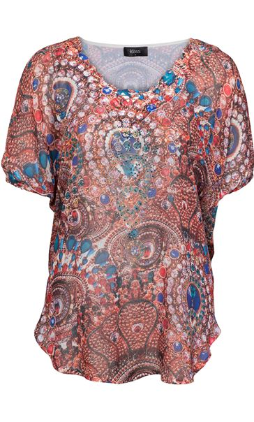 Embellished Jewelled Print Georgette Top
