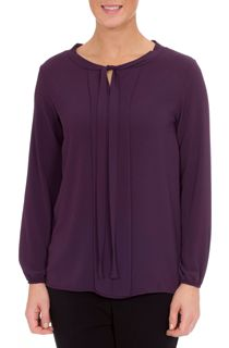 Long Sleeve Tie Neck Crepe Blouse - Aubergine