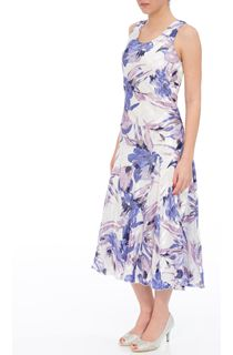 Anna Rose Bias Cut Floral Sleeveless Dress - Ivory