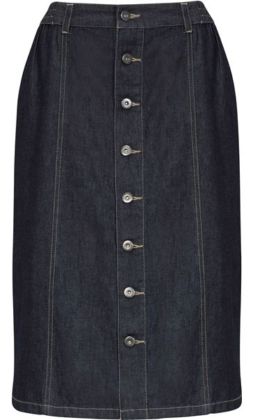 Button Front Denim Midi Skirt -