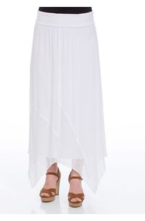 Pull On Hanky Hem Maxi Skirt
