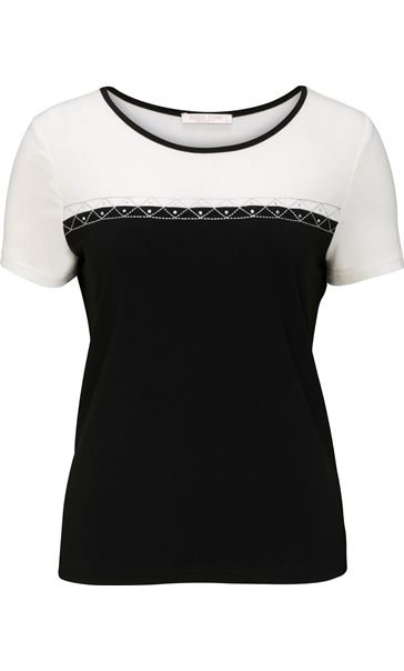Anna Rose Short Sleeve Colour Block Top
