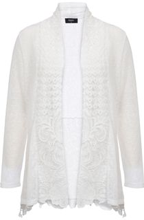 Long Sleeve Lace Trimmed Open Cardigan - White