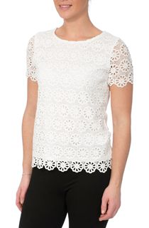 Anna Rose Floral Layer Crochet Short Sleeve Top - White