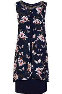 Sleeveless Printed Chiffon Layered Embellished Midi Dress