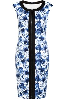Sleeveless Printed Zip Front Scuba Midi Dress