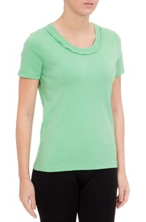 Anna Rose Short Sleeve Jersey Top - Green