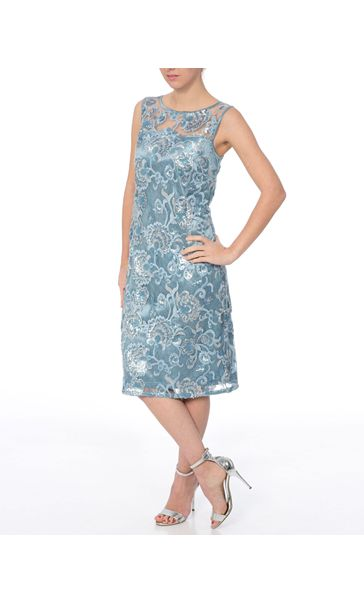 Sequin And Lace Sleeveless Midi Dress