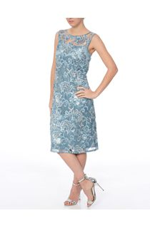 Sequin And Lace Sleeveless Midi Dress - Blue