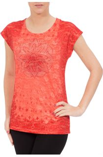 Anna Rose Embellished Lace Layer Top - Orange