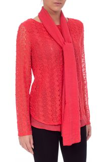 Layered Long Sleeve Scarf Top - Coral