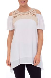 Cold Shoulder Crinkle Georgette Tunic - White