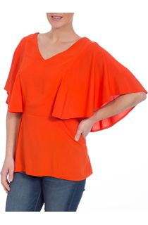 Short Flute Sleeve V Neck Top - Orange