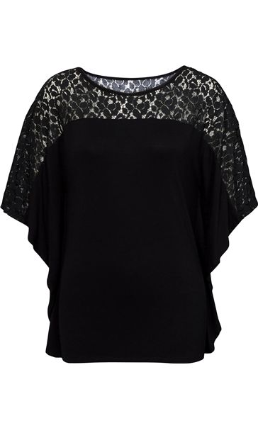 Jersey And Lace Panel Short Sleeve Top