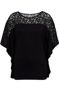 Jersey And Lace Panel Short Sleeve Top - Black
