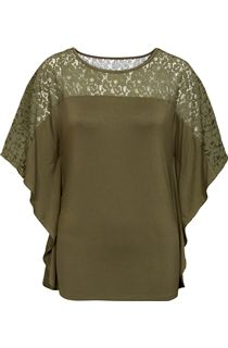 Jersey And Lace Panel Short Sleeve Top - Khaki