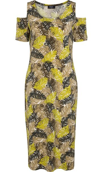 Leaf Printed Cold Shoulder Midi Dress