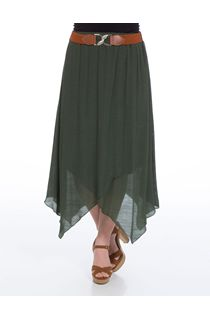 Cross Over Hanky Hem Belted Skirt - Green