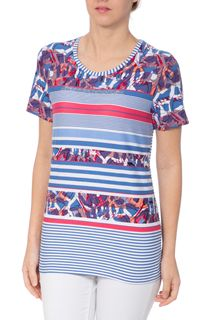 Anna Rose Stripe And Print Short Sleeve Top
