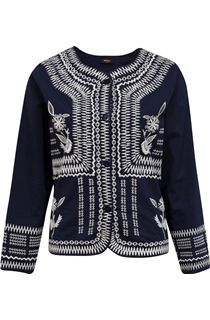 Embroidered Cotton Button Jacket