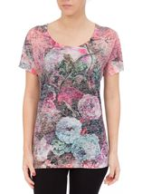 Short Sleeve Embellished Floral Print Top