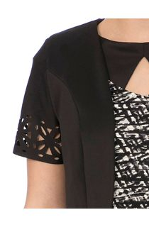 Laser Cut Cropped Scuba Jacket