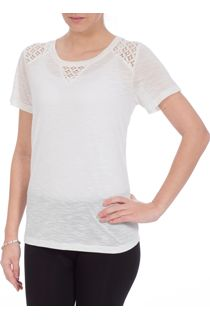 Anna Rose Crochet Trim Short Sleeve Top - Ivory