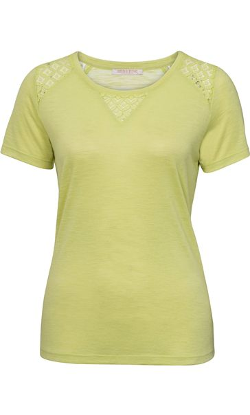 Anna Rose Crochet Trim Short Sleeve Top