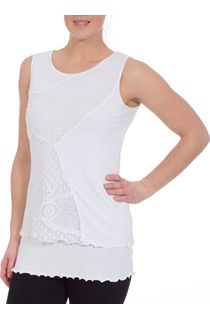 Layered Lace Trimmed Sleeveless Top