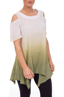 Cold Shoulder Ombre Crinkle Tunic - Green