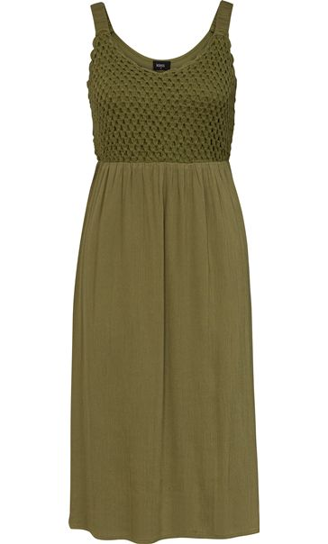 Sleeveless Crochet Trim Midi Dress