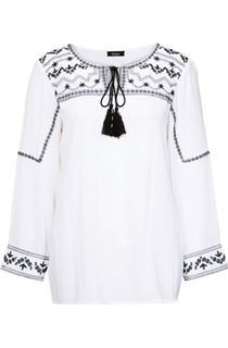Embroidered Long Sleeve Peasant Top
