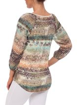Printed Three Quarter Sleeve Tie Neck Top