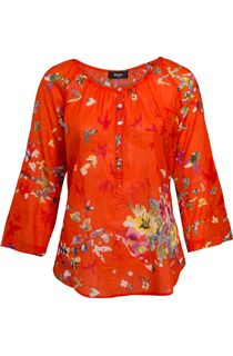 Floral Turn Sleeve Cotton Top