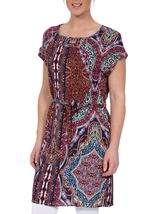 Printed Short Sleeve Belted Tunic