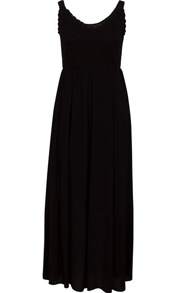 Sleeveless Crochet Trim Maxi Dress