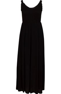 Sleeveless Crochet Trim Maxi Dress - Black
