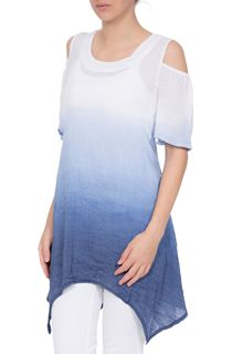 Cold Shoulder Ombre Crinkle Tunic - Coulis/Cashew