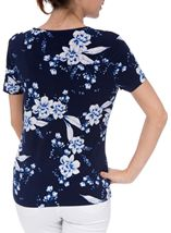 Anna Rose Floral Print Round Neck Jersey Top