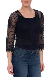 Embroidered Mesh Cover Up - Navy